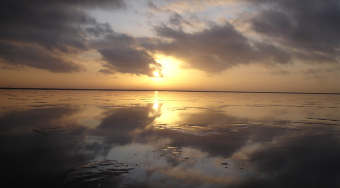 Dun laagje ijs op het Ijsselmeer en het Soal vanuit het strand in Workum